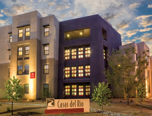 Exterior photograph of Casas del Rio at University of New Mexico