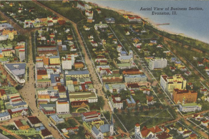 Aerial View of Business Section, Northwestern University, Evanston, Ill.